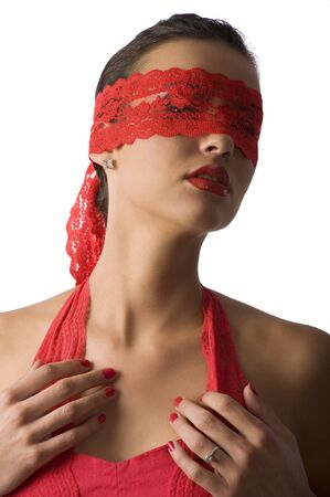nice portrait of cute and sexy brunette in red shirt and a red lace mask Stock Photo - 6260873