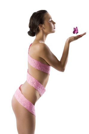 part of naked body of slim woman with some pink scarf of paper around the body Stock Photo - 6290119