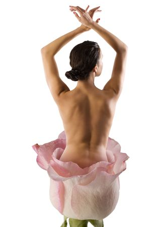 beautiful naked woman coming out from a flower posing like a ballerina Stock Photo - 6327397