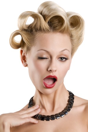cute blond woman with creative hair making funny face Stock Photo - 6933331