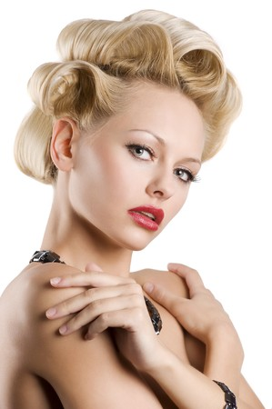 cute blond woman with creative hair stylish wearing a black necklace and bracelet over white photo