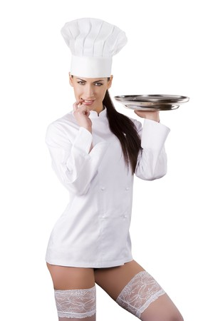 young sexy woman dressed as a cook with cap and showing her legs with white stocking photo