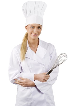 blond and young woman in white chef dress with hat