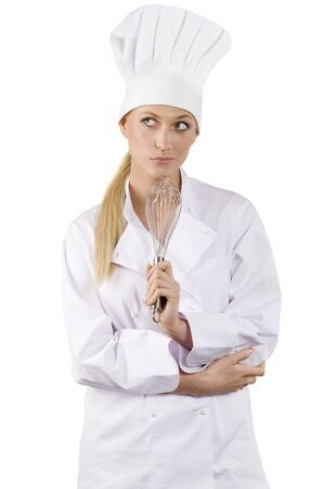 handled: blond and young woman in white chef dress with hat