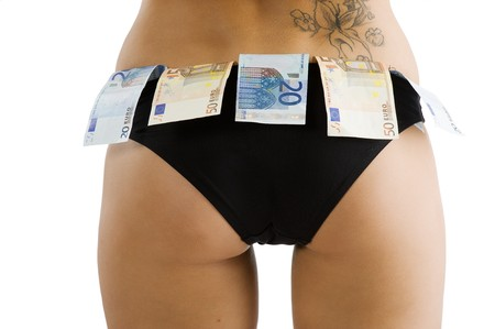 close up on a girl ass with black panties and some euro money around Stock Photo - 7440376