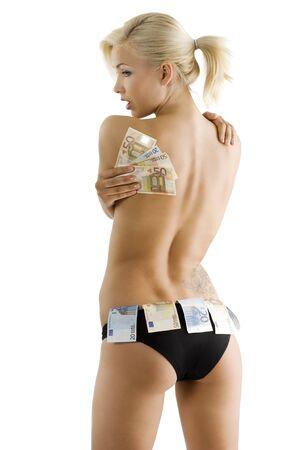 Beautyful sexy blonde meisje zwart slipje dragen en het houden van de euro geld als een strip meisje
