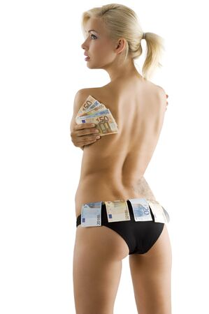 beautyful sexy blond girl wearing black panties and keeping some euro money as a strip girl photo