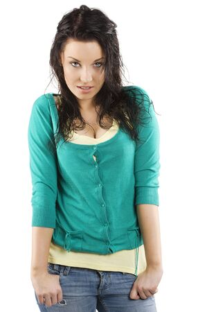 cute and sweet young woman with yellow and green color dress and wet hair photo