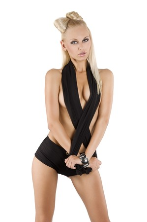 sexy beautiful blond girl wearing black shorts and material posing like a playmate with hair style Stock Photo - 7597987