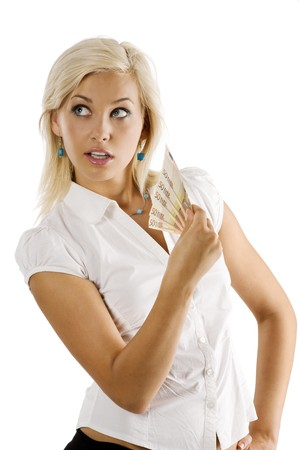 cheerful young blond lady holding 50 euro cash and looking on one side Stock Photo - 7635444