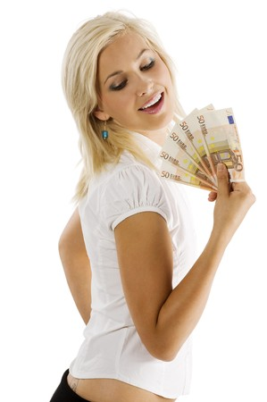 beauty blond woman in white shirt with a fan of euro money smiling and looking down Stock Photo - 7635442