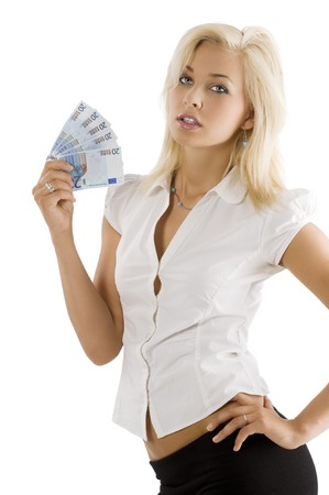 blond young woman in white shirt with a money euro fan in one hand in act to fresh herself Stock Photo - 7635435