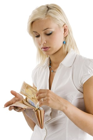 blond graceful model bringing some euro cash from her wallet Stock Photo - 7635467