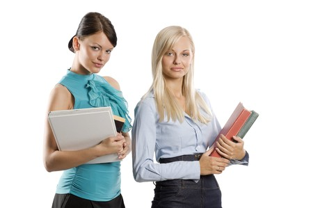 two female girl student in nice dress carrying book and smiling in camera Stock Photo - 7635479