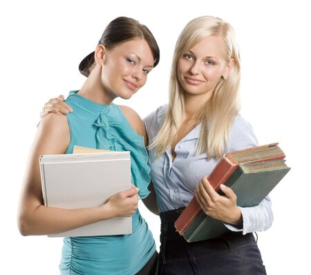 two nice student in act to be friend arming and looking in camera with sweet smile Stock Photo - 7635510