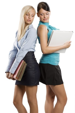 two female girl student in nice dress carrying book and chatting each others  photo