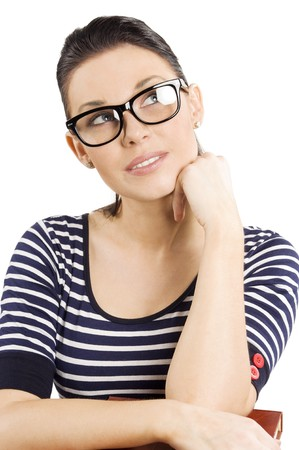 very cute and young girl with glasses looking up photo