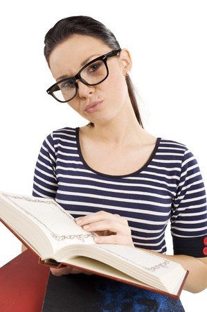 pretty and young student with big funny glasses near some books photo