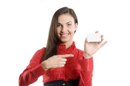 very cute happy woman in red shirt with business card over white photo