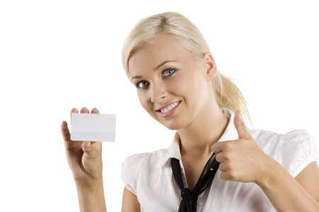 young nice woman showing a white card smiling and saying ok with and photo