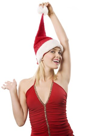 young blond woman with red top and a little gift box wearing a christmas hat photo