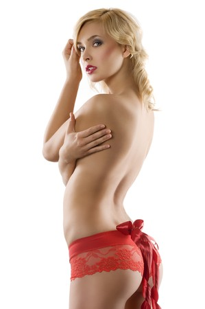 blond sexy girl wearing red panties and showing her ass with a red bow