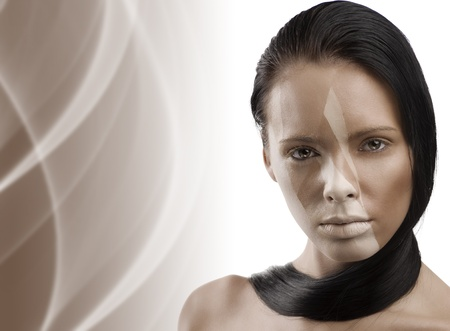 portrait of beauty woman with a brown creative make up and copy space on left space  photo
