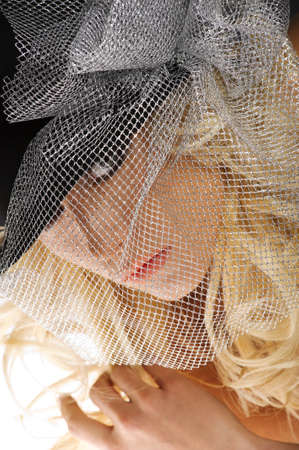 close up portrait of cute blond woman looking in camera with a silver net cover her face Stock Photo - 8432723