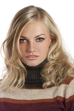 blue eyed blonde natural beauty in an autumn portrait shot photo