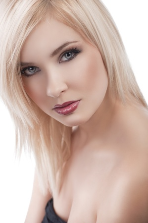 beauty close up portrait of young beautiful lady with red lips and well done blond hair over white photo