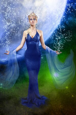 draped: attractive stunning woman with a long elegant leather dress and a  stole with creative make up and hair style on space background
