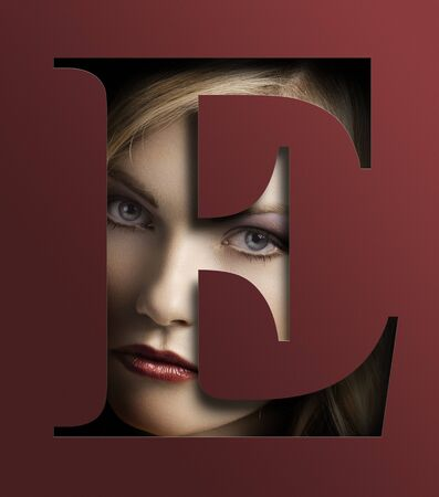e pretty: close up beauty portrait of young pretty woman behind a color red letter E