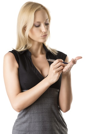 classifier: pretty business woman with elegant dress and pen, she is turned of three quarters at left and she write something on her left hand