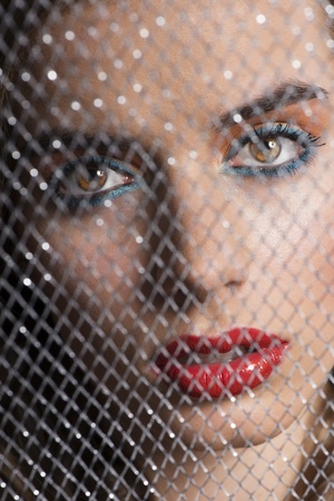 pretty girl with coloured make-up behind grid, looks in to the lens with sensual expression Stock Photo - 16016405