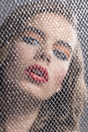 pretty girl with coloured make-up behind grid, her face is bent at left and she looks in to the lens Stock Photo - 16016407