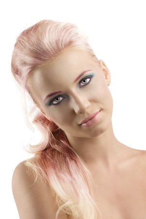 nude pretty girl: pretty girl with blonde long hair and coloured make-up, her head is folded at right and she looks in to the lens Stock Photo