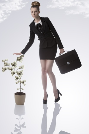 woman holding money: serious blonde business woman with elegant hair-style wearing formal suit and taking bag with money plant near Stock Photo