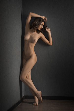 very sexy young woman with perfect sensual body , posing naked near a gray wall in artistic mode
