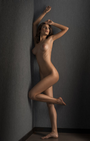 naked pretty young woman brunette , in artistic pose against a wall showing her stunning body