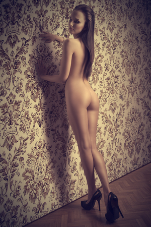 nude ass: sexy brunette girl with long smooth hair posing with her nude perfect body in sensual pose, wearing heels