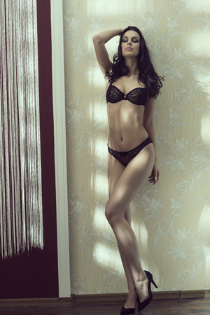 beautiful naked woman: beautiful brunette woman with sexy black lingerie, make-up and long hair posing in interior elegant ambient with heels Stock Photo
