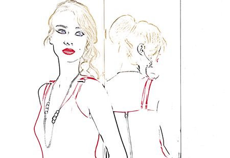 looking away: draw of pretty young girl , she is wearing a red dress , she is looking away . she has red lipstick Stock Photo