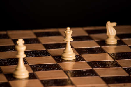 tablero de ajedrez: Chess photographed on a chessboard