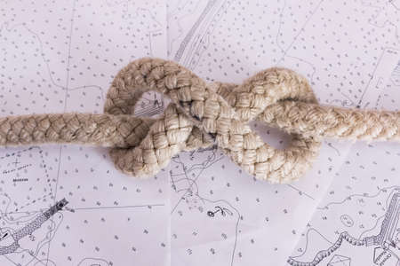 nautical knots photographed on nautical map