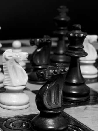 Chess photographed on a chessboard