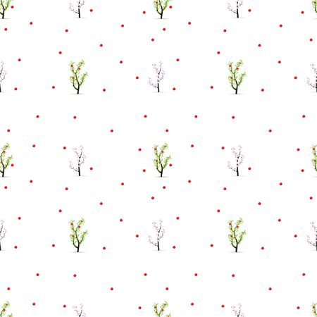 Apple pattern. Blooming apple trees and apples.