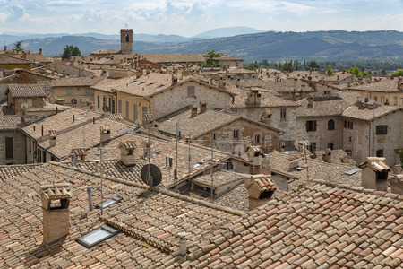 crenellated: Gubbio, a medieval town in Umbria (Italy) Editorial