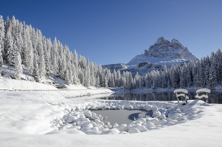 Winter at the Tre Cime di Lavaredo. Photo taken from the lake Antorno di Misurina di Auronzo di Cadore (BL)