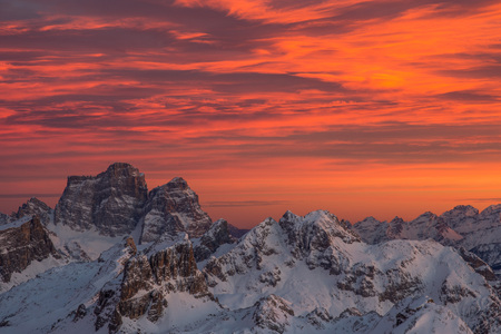 Fiery sunset on the Pelmo, Caregon. View from the Lagazuoi refuge