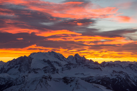 Fiery sunset over the Marmolada. View from Lagazuoi refuge